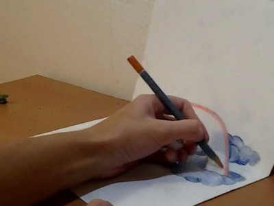 How to draw 3D cartoon rainbow illusion on two A4 pages