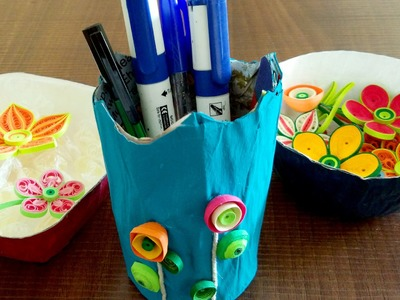 How To Make Bowls & Pen Stand | DIY Newspaper Craft Tutorial