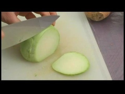Making Edible Vegetable Arrangements : Edible Vegetable Arrangement: Slicing Kohlrabi