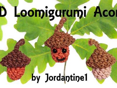 New 3D Loomigurumi. Amigurumi Acorn - Rainbow Loom - Fall - Rubber Band Crochet - Hook Only