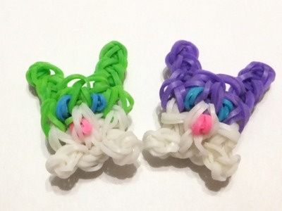 Rainbow loom Bunny. Rabbit charms | How to make loom bands Easter charm EASY