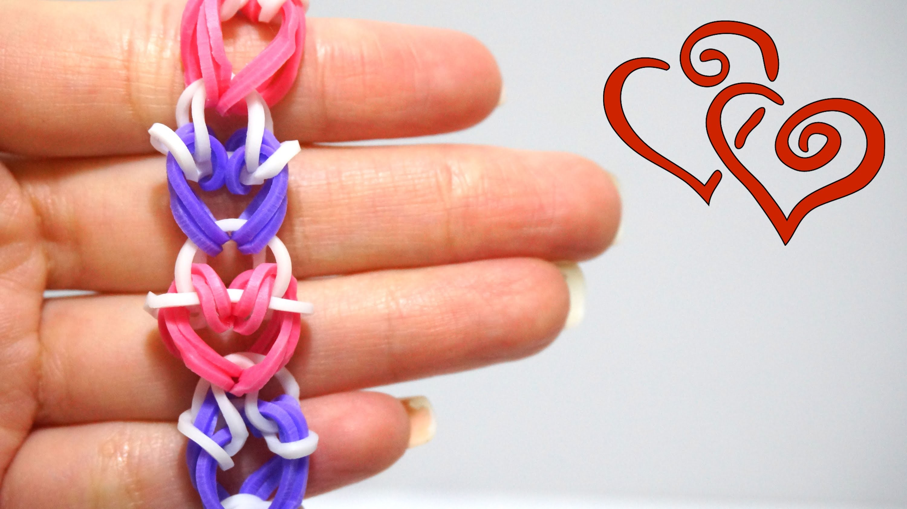 Rainbow Loom Stitched Heart Bracelet pretty ang easy to make with two pencils