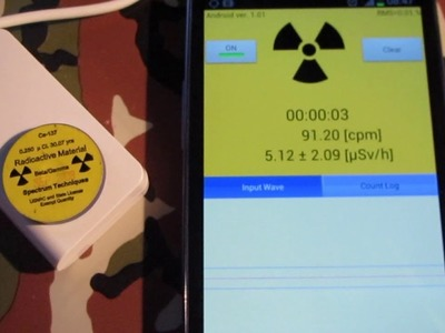 Testing www.radiation-watch.co.uk semiconductor radiation detector for smartphones