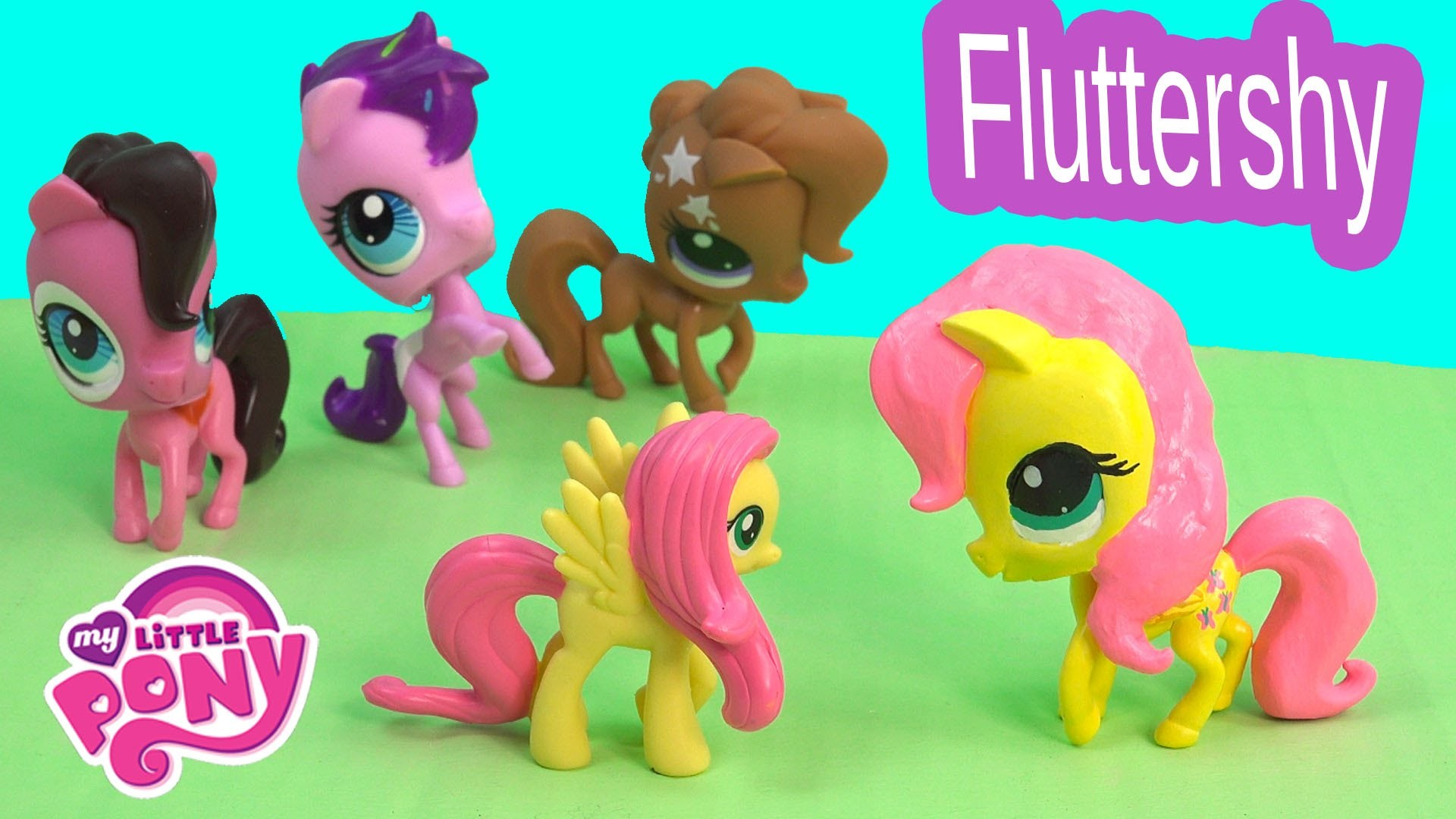 DIY My Little Pony Fluttershy Inspired MLP LPS Littlest Pet Shop Toys 2015 Clay Custom Craft Video