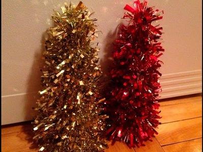 DIY: Tinsel Garland Christmas Trees  ♡ Theeasydiy #Crafty