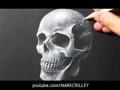 Drawing Time Lapse: Skull [White Pencil.Black Paper]