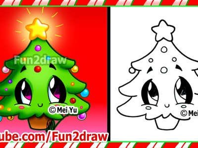 Easy Drawings - How to Draw Christmas Tree - Cute Christmas Stuff Things Top Drawing Videos Fun2draw