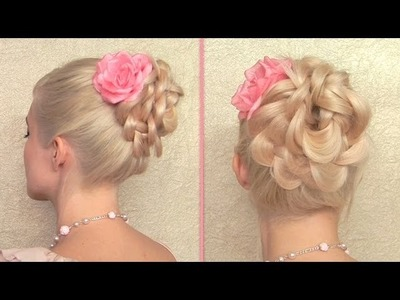 Easy prom, wedding hairstyle Braided flower updo for long hair tutorial
