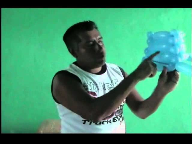 GLOBOS CANASTA HECHA CON TRES GLOBOS. HOW TO MAKE A BASKET WITH THREE BALLOONS