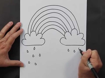 How to Draw a Rainbow and Clouds Beginners Drawing Tutorial of Kids