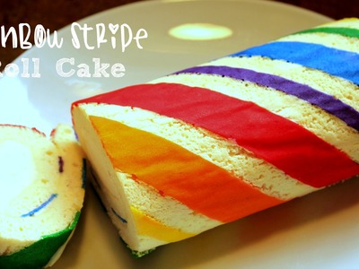 How to make a Rainbow Stripe Roll Cake