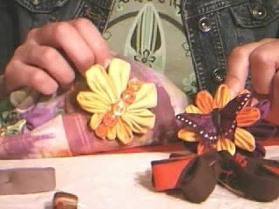 How to Make a Recycled Kanzashi Butterfly! Part 4