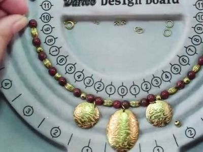 How To Make Red Oval Round Necklace With Brass Charms