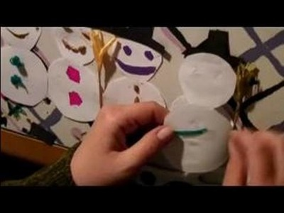 Making Paper Snowmen Decorations : Attaching a Paper Snowmen Decoration to Christmas Trees