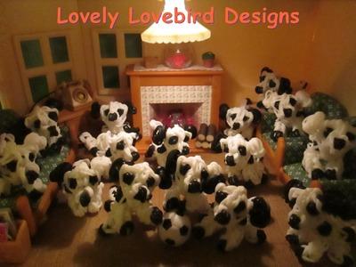Rainbow Loom 101  Dalmatians Puppies. 3-D Dog Charm.