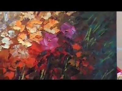 """World of Rapture"" palette knife flower painting in progress"