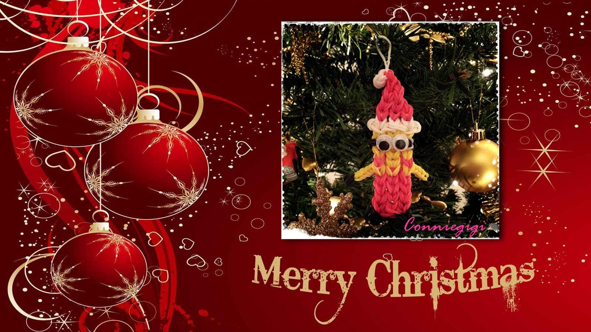 (1 Loom edition) How to make Rainbow Loom Santa Minion Ornament. Bracelet