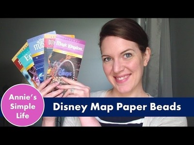 $5 Dollar Tree Upcycle Challenge |  Disney Park Map Paper Beads