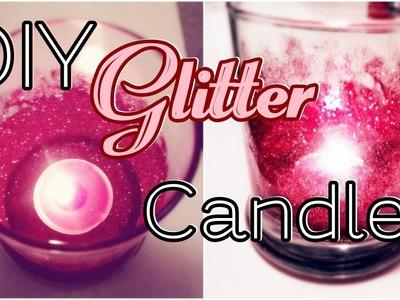 DIY Glitter Candle Valentine's Day Decor