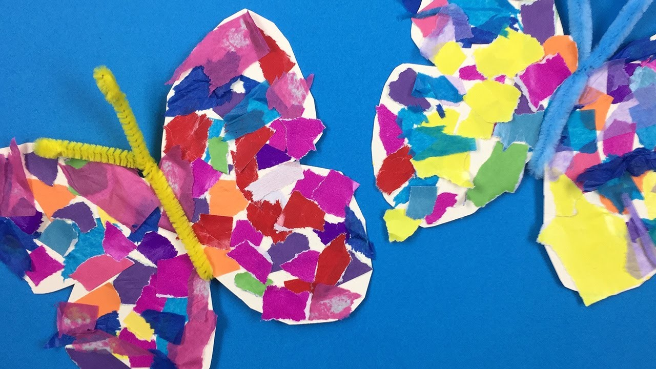 How to make a paper butterfly  - simple Arts and Crafts project for preschool and kindergarten kids