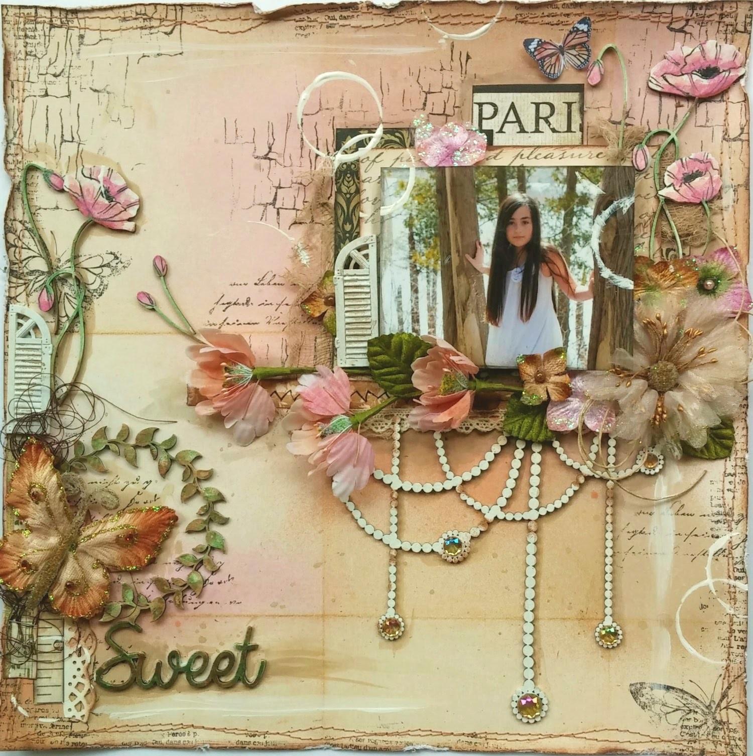 Mixed Media Scrapbook Page Tutorial   Sweet