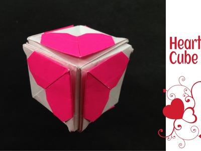 "Modular Origami  - Paper "" Heart cube"" - Valentine special."