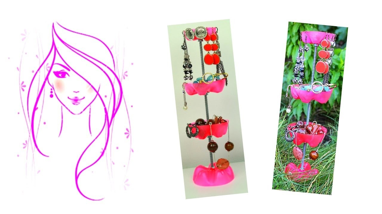 MORENA DIY: HOW TO MAKE ROOM DECOR.  DIY JEWELRY STAND. DIY PLASTIC BOTTLE JEWELRY STAND