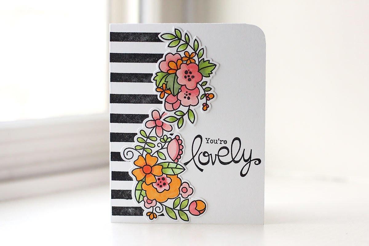 Pinterest-Inspired Striped Floral Card   Kalyn Kepner   Paper Smooches