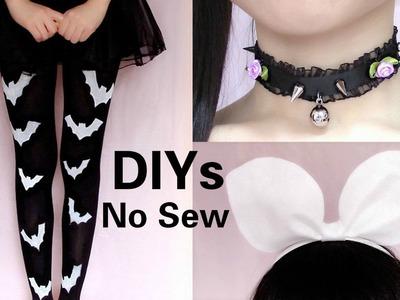 3 Last Minute Halloween DIYs ( No Sew): DIY Bat Tights +  Pastel Gothic Choker + Rin Headband