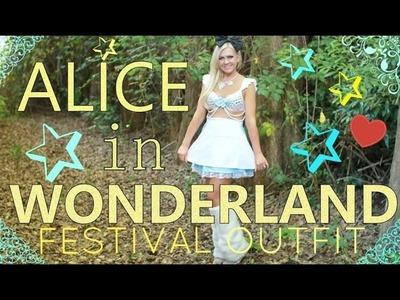 ALICE IN WONDERLAND - DIY RAVE.FESTIVAL COSTUME - RAVE BRA & FUR BOOTS TOO! - MISSY CHRISSY