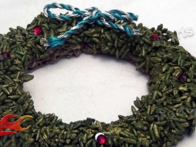 DIY Christmas Tree Wreath ornament with rice and glue - JK Arts 103