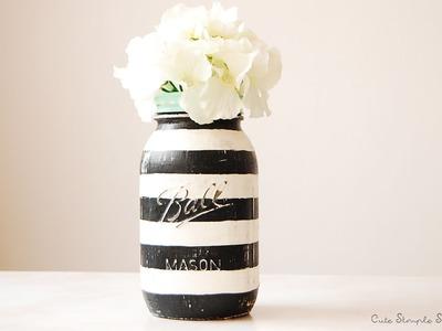 DIY Striped-Vintage Inspired Mason Jar Home Decor