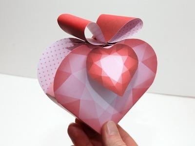 Gift Box Diamond Heart - Boîte cadeau Cœur de diamant - Printable DIY