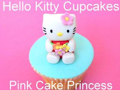 Hello Kitty Cupcake Figurine How to by Pink Cake Princess - Collaboration with CreativeCakesBySharon