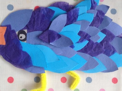 How to make a paper bird - art and craft project for kids