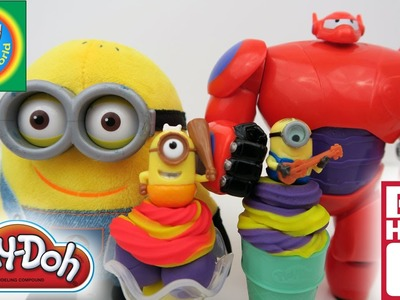 How to Play-Doh Ice Cream Mini Minions Tops with Baymax, DIY Fun