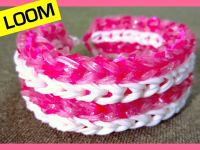 Rainbow Loom Bracelet Four-row Fishtail without Loom. on 2 Forks
