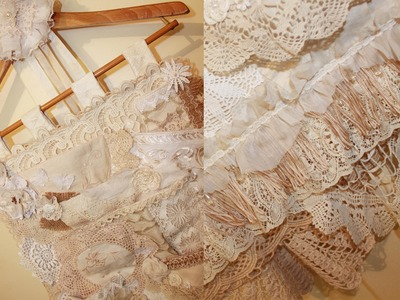 Shabby Chic Lace Collage Fabric Pocket Organiser Hanger