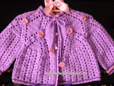 VERY EASY crochet cardigan. sweater. jumper tutorial - baby and child sizes 7