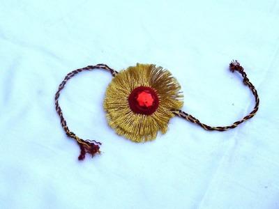 DIY Golden Rakhi for Raksha Bandhan   How to make    JK Arts 037
