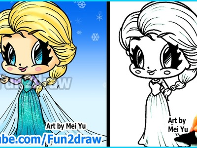 How to Draw Disney Princesses & Characters - Elsa from Frozen - Fun2draw drawing channel
