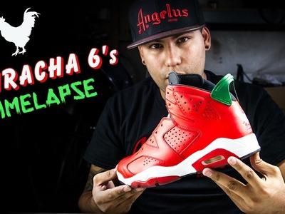 "Jordan 6 ""Sriracha"" Customs for my bro SneakerHeadintheBay!"