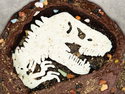Jurassic World Fossil Dinosaur Cake from Cookies Cupcakes and Cardio
