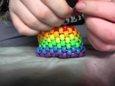 Rainbow kandi cuff tutorial :3