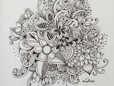 Zendoodle art journal entry  - slow doodle