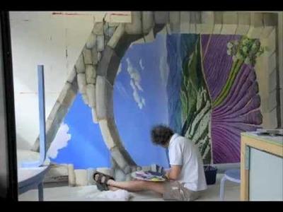 """Angelica Trompe l'Oeil: a mural in 2'52"""" !"""