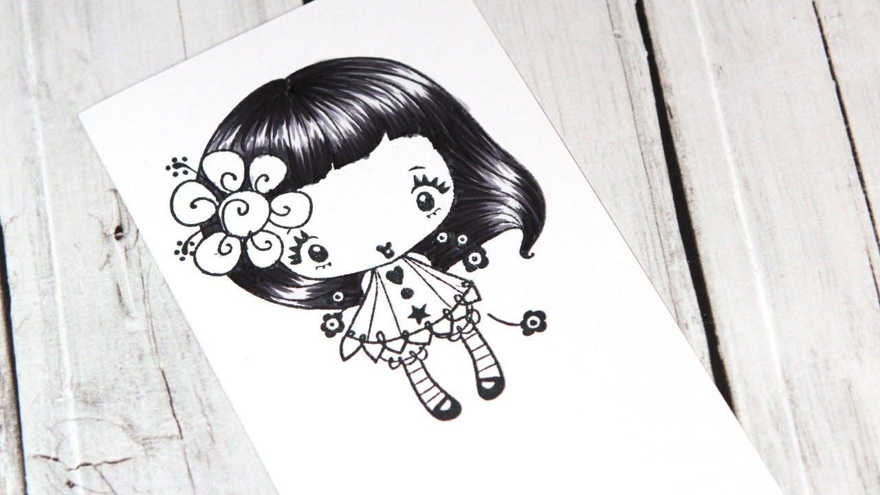 Color Wednesday #10 - Black Hair with Copics & The Greeting Farm Dahlia
