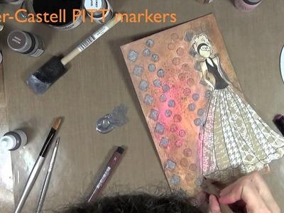 Creación mixed media, muñeca de papel - Mixed media canvas with paper doll