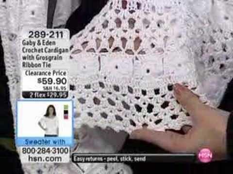 Crochet Cardigan with Grosgrain Ribbon Tie by Gaby & Eden
