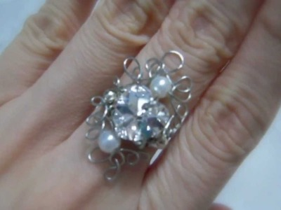 ~Dancing Wires~  Adjustable Wire Crystal Ring - Victorian Love